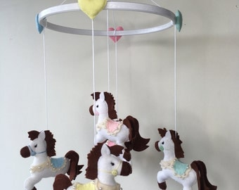 Horses/hearts Mobile,Nursery Decor,Cribs Mobiles,cot Mobiles,Baby Shower gift,Newborn Gift,Custom made
