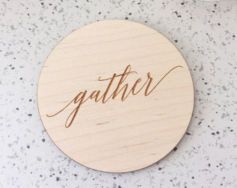 4 Count Laser Cut Etched Wood Gather Coasters,Laser Cut Acrylic,Wedding,Holiday Decor,Gift Ideas,Hostess Gift,Bar Cart,Gold Wedding Decor