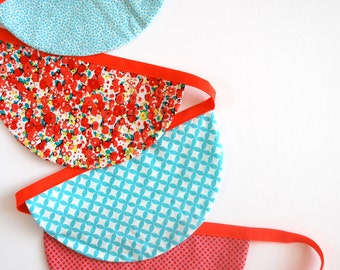 Coral and Turquoise Bunting - Patterned Fabric Scalloped Bunting