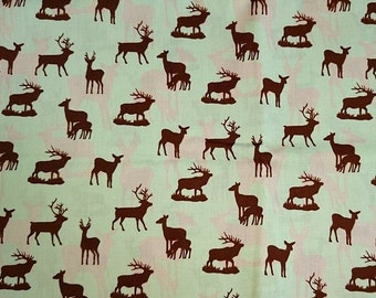 cotton fabric, 100% cotton, fabric deer