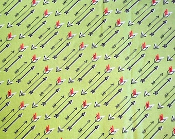 Fabric cotton, arrows, arrows on a green background, 100% cotton fabric