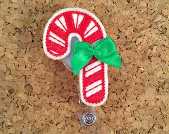 Christmas Badge Reel | Candy Cane | Badge Pull | Retractable Badge Holder | Id Holder | Nurse Gift | Teacher Gift | Holiday Badge Reel | 105