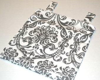 SALE! Hanging Wetbag in Grey Damask // Kitchen Wetbag // Cloth Diaper Bag // Swimming Bag