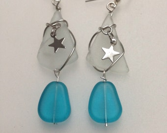 White seaglass with aqua beads