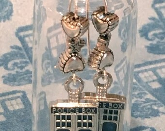 Police Box Earrings in a Bottle Doctor Who TARDIS inspired