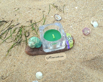 Wood sea handpainted, hippie, driftwood candleholder candle holder
