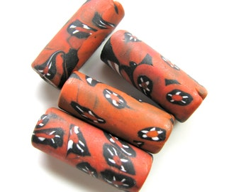 Tube beads, glass beads, red, black and white, vintage beads, 3 beads - 511