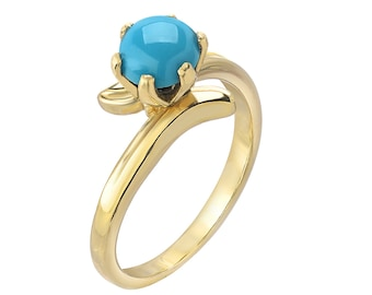 Tousi Jewelers Turquoise Ring Gold - Solid 14k Yellow Gold Weeding Band for Everyday - December Birthstone Anniversary Gift