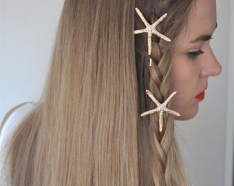 ON SALE!!! Gold Starfish Hair Pin. Starfish Hair Clip. Gold Headpiece. Starfish Headpiece. Beach Wedding. Gift For Her. Hair Accessories