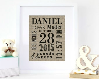 Birth Stats Announcement Burlap Print | Baby Birth Statistics | New Baby Gift | Personalized Nursery Decor | Personalized Baby Shower Gift
