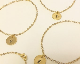 Hand Stamped Initial Disc Charm Bracelet - Available in Gold or Silver Plated