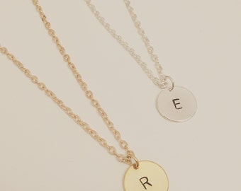 Gold or silver plated 12mm Disc Handstamped Initial Necklace - OUR BEST SELLER