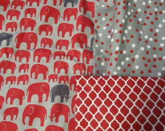 Seeing Red Elephants?  Red and Gray fabrics