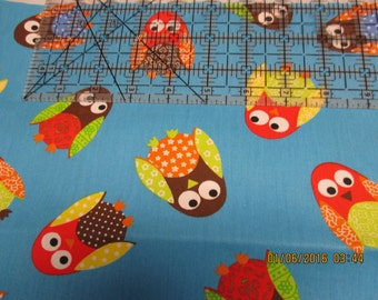 Half-Yd Turquoise Tossed Owl Fabric
