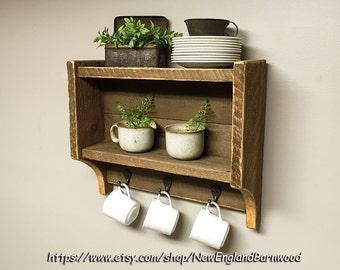 Rustic Kitchen Shelves, Kitchen Spice Rack, Country Kitchen Shelf, Rustic  Home Decor Ideas