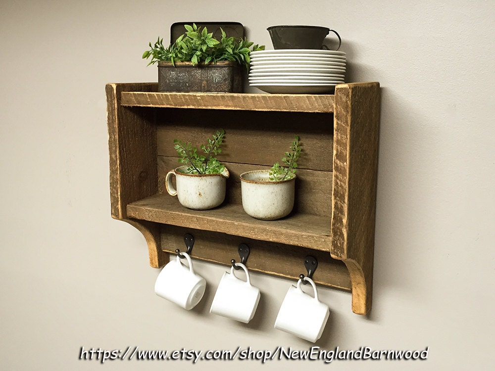 Rustic kitchen shelves kitchen spice rack country kitchen for Shelf decor items