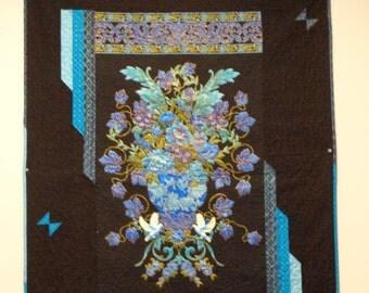 Blue Floral Art Noveau  Wall Hanging