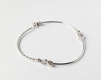 Minimalist geometric chain silver bracelet