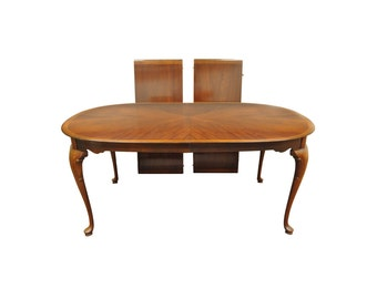 Vintage Queen Anne Style Banded Mahogany Dining Table w/ 2 Leaves 1760-481-2