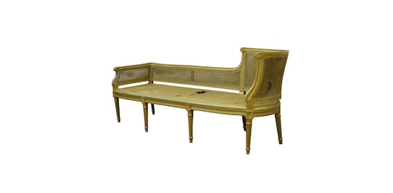 Antique french louis xvi style caned chaise lounge recamier for Antique chaise lounge styles