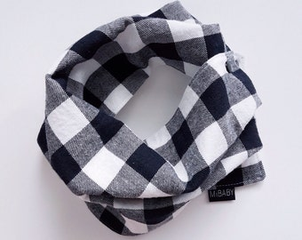 Buffalo Plaid Scarf / Black & White Scarf / Bib Scarf / Reversible Scarf Bib / Toddler Scarf / Baby Scarf Bib / MiBaby Boutique