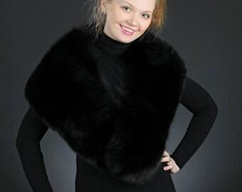 Black Fox Fur Scarf. Wide.
