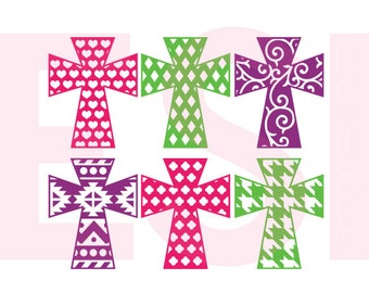 Patterned Cross svg, Religious svg, Christian svg, SVG, DXF, EPS, cutting files for use with Silhouette Studio & Cricut Design space. Set 2