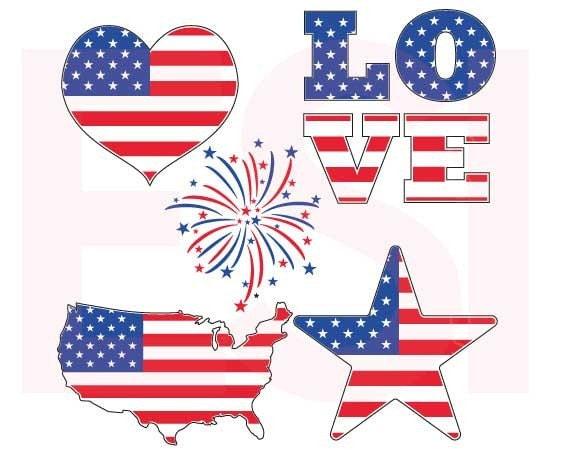 July 4th Svg Design Set Memorial Day Svg American Flag