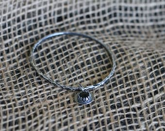 Sterling Silver Bangle with Onyx Charm, Small