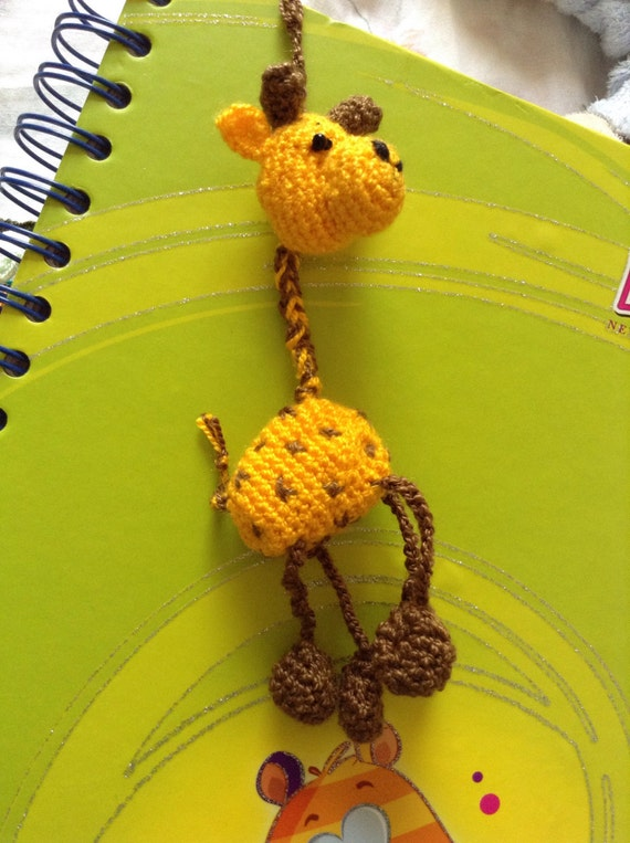 Handmade Giraffe Bookmark, Crocheted Bookmark