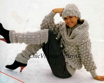 Knitted Jacket, Hat, Scarf, Leg Warmers ... Vintage PDF Knitting Pattern ... Warm Jacket, Hat, Scarf, Leg Warmers ... Instant Download