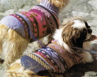 Knitted Dog Coats ... Turtleneck Jaquard Coats ... PDF Knitting Pattern ... Winter Coats ... Make Your Dog Stand Out From His Friends