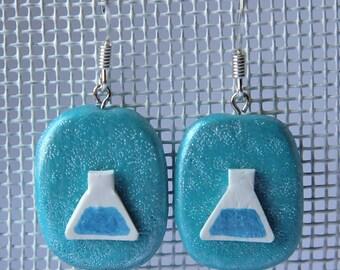 Laboratory earrings, blue - science jewellery (biology/chemistry)