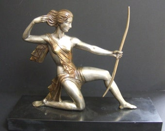 Art Deco Bronze Figure. Diana the Huntress. Signed Gual