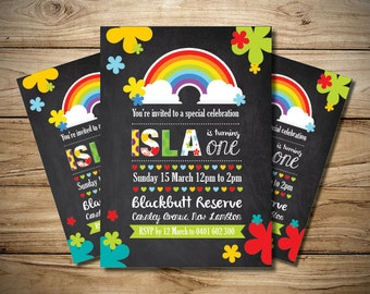 Girls Rainbow Birthday Invitation