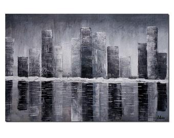 Large Art, Cityscape Art, Canvas Painting, Large Painting, Original Painting, Abstract Painting, Abstract Wall Art, Canvas Art, Oil Painting