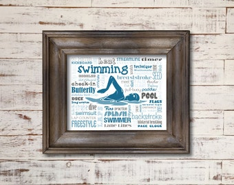 Swimming / Word Art Typography / Home Decor / Unique Coach Gift / Sports / Pool Breaststroke backstroke freestyle pool swimsuit
