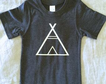 T-Shirt Teepee Print Dark Grey Marle