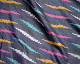 Navy Blue Ikat Cotton Fabric Handloom Indian Ikat fabric by yard Handwoven Ikat Dress Fabric / Home Furnishing  / Cushion Covers