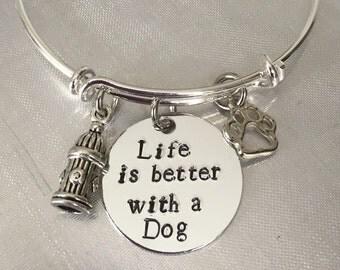 """Dog bracelet """"life is better with a dog"""" Bracelet bangle bracelet adjustable bracelet"""