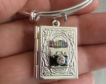 Camera-smile Book locket Bracelet