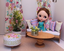 Blythe/Barbie Dollhouse- Rainbow/Purple/Green -Curtains, Pillows, Ottoman, 1:6 Scale Accessories in Floral and Bird, Spring Pattern