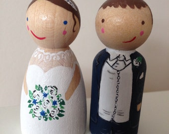 Custom bride and groom peg doll wedding cake topper. Cake decoration rustic wedding personalised