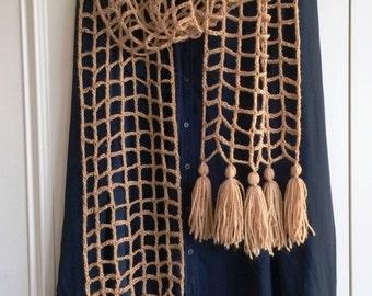 Crochet lacy square mesh scarf / crochet spring scarf / crochet mesh scarf / turquoise lacy scarf