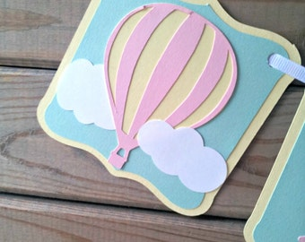 Pastel Hot Air Balloon Birthday Banner - hot air balloon birthday - first birthday - party supplies - up up & away party - girl party decor