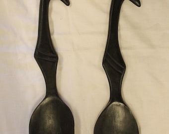 Vintage Black Wooden Salad Spoons Salad Tossers with Giraffe Handle