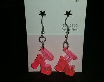 Pink Barbie shoe earrings
