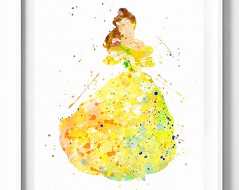 Disney Princess Belle Prints, Beauty and the Beast, Printable, Watercolor Painting, Nursery Decor, Kids Decor, Girls Wall Art, Holiday Gifts