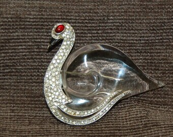 Trifari Norman Bel Geddes Jelly Belly Swan Pin