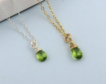 Peridot Necklace, August Birthstone Necklace, Peridot Jewelry, Birthstone Jewelry, Peridot Drop Necklace, Gemstone Necklace